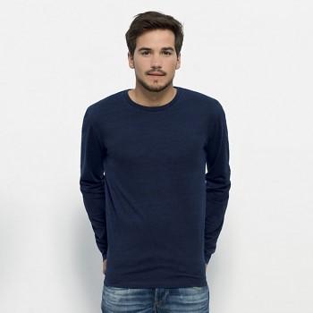 STANLEY SHUFFLES DENIM Pánské triko s dlouhými rukávy ze 100% biobavlny - tmavě modrá dark wash