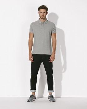 STANLEY PERFORMS Pánské polo tričko s krátkými rukávy ze 100% biobavlny - šedá melange