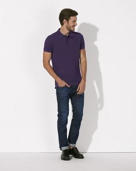 STANLEY PERFORMS Pánské polo tričko s krátkými rukávy ze 100% biobavlny - fialová plum