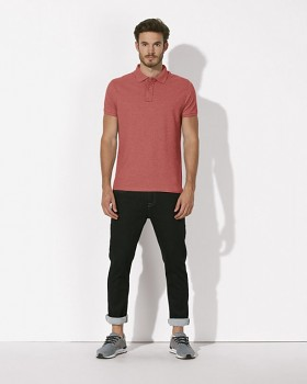 STANLEY PERFORMS Pánské polo tričko s krátkými rukávy ze 100% biobavlny - červená melange