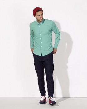 STANLEY IMPRESSES Pánská košile s dlouhými rukávy ze 100% biobavlny - zelená mátová
