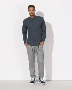 STANLEY IMPRESSES Pánská košile s dlouhými rukávy ze 100% biobavlny - tmavě šedá ebony