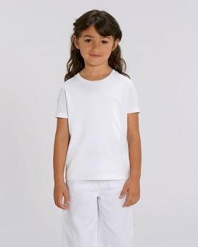 MINI STELLA DRAWS Dívčí tričko s krátkými rukávy ze 100% biobavlny - bílá