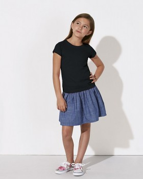 MINI STELLA DRAWS Dívčí tričko s krátkými rukávy ze 100% biobavlny - černá