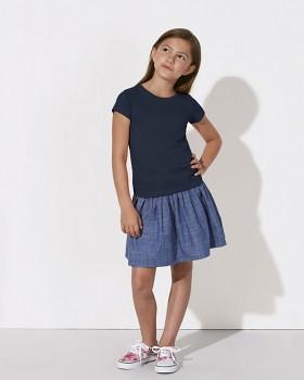 MINI STELLA DRAWS Dívčí tričko s krátkými rukávy ze 100% biobavlny - tmavě modrá navy