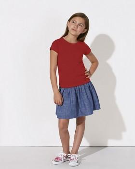 MINI STELLA DRAWS Dívčí tričko s krátkými rukávy ze 100% biobavlny - červená