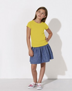 MINI STELLA DRAWS Dívčí tričko s krátkými rukávy ze 100% biobavlny - žlutá maize