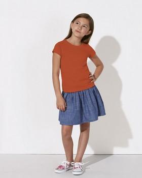 MINI STELLA DRAWS Dívčí tričko s krátkými rukávy ze 100% biobavlny - oranžová
