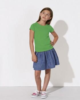MINI STELLA DRAWS Dívčí tričko s krátkými rukávy ze 100% biobavlny - zelená