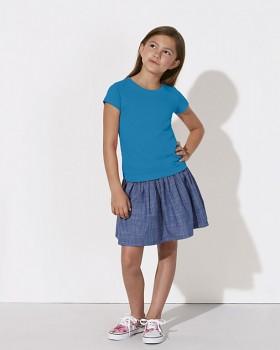 MINI STELLA DRAWS Dívčí tričko s krátkými rukávy ze 100% biobavlny - světle modrá azur