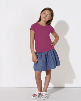 MINI STELLA DRAWS Dívčí tričko s krátkými rukávy ze 100% biobavlny - malinová