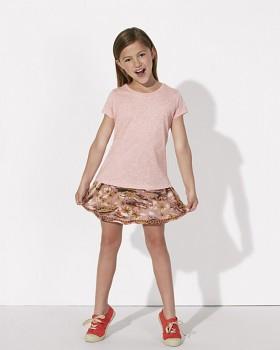 MINI STELLA DRAWS Dívčí tričko s krátkými rukávy ze 100% biobavlny - světle růžová melange cream heather