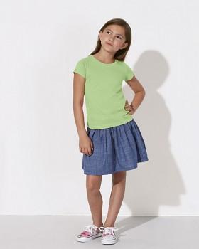 MINI STELLA DRAWS Dívčí tričko s krátkými rukávy ze 100% biobavlny - světle zelená paradise