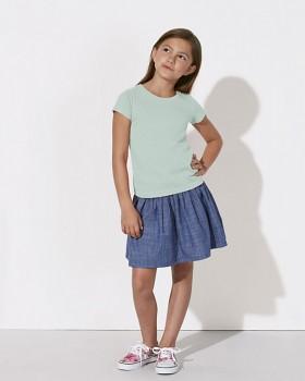 MINI STELLA DRAWS Dívčí tričko s krátkými rukávy ze 100% biobavlny - světle modrá carribean