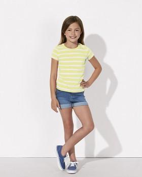 MINI STELLA LINES Dívčí pruhované tričko s krátkými rukávy ze 100% biobavlny - žlutá