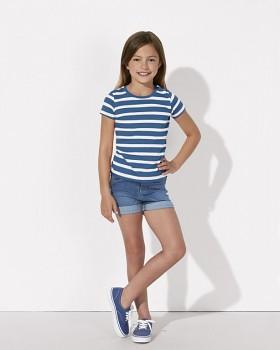 MINI STELLA LINES Dívčí pruhované tričko s krátkými rukávy ze 100% biobavlny - modrá