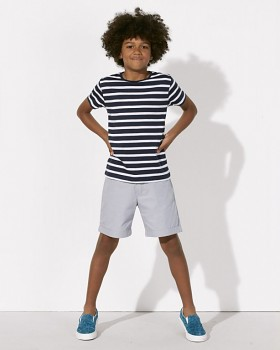MINI STANLEY STRIPES Chlapecké pruhované tričko s krátkými rukávy ze 100% biobavlny - modrá navy
