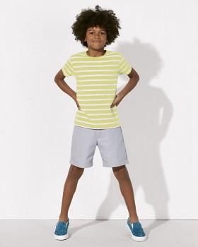 MINI STANLEY STRIPES Chlapecké pruhované tričko s krátkými rukávy ze 100% biobavlny - žlutá