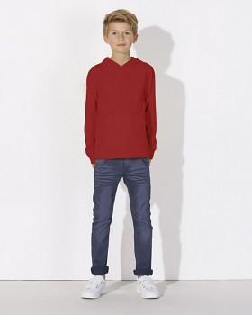 MINI BLOOM Dětské mikinové tričko s dlouhými rukávy s kapucí a klokankou ze 100% biobavlny - červená