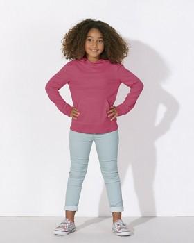MINI BLOOM Dětské mikinové tričko s dlouhými rukávy s kapucí a klokankou ze 100% biobavlny - růžová camelia