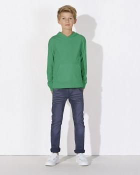 MINI BLOOM Dětské mikinové tričko s dlouhými rukávy s kapucí a klokankou ze 100% biobavlny - zelená vivid