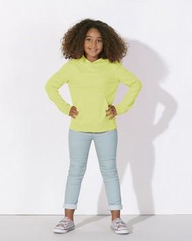 MINI BLOOM Dětské mikinové tričko s dlouhými rukávy s kapucí a klokankou ze 100% biobavlny - žlutá sunny lime