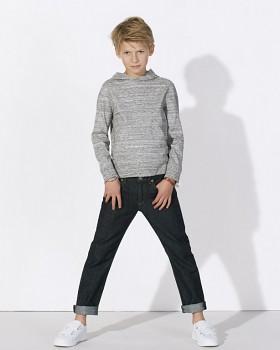 MINI BLOOM Dětské mikinové tričko s dlouhými rukávy s kapucí a klokankou ze 100% biobavlny - světle šedá melange