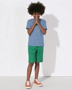 MINI STANLEY PAINTS Chlapecké tričko s krátkými rukávy ze 100% biobavlny - modrá mid heather melange