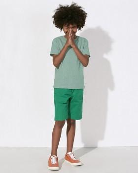 MINI STANLEY PAINTS Chlapecké tričko s krátkými rukávy ze 100% biobavlny - zelená mid heather melange