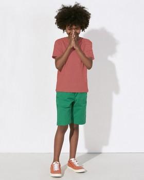 MINI STANLEY PAINTS Chlapecké tričko s krátkými rukávy ze 100% biobavlny - červená mid heather melange