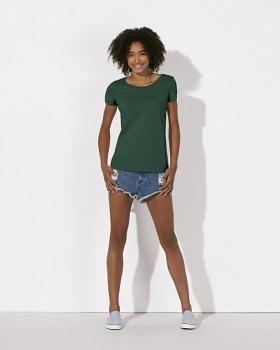 STELLA LOVES Dámské tričko ze 100% biobavlny - lahvově zelená