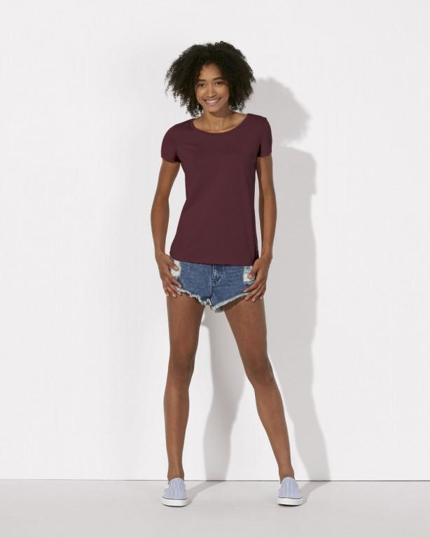6cf2ce2878 STELLA LOVES Dámské tričko ze 100% biobavlny - fialová burgundy ...
