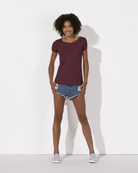 STELLA LOVES Dámské tričko ze 100% biobavlny - fialová burgundy