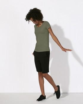 STELLA LOVES Dámské tričko ze 100% biobavlny - midh heather khaki