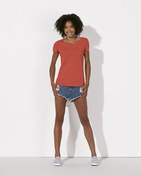 STELLA LOVES Dámské tričko ze 100% biobavlny - červená hot coral
