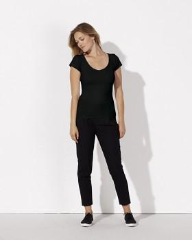 STELLA SMILES Dámské tričko s velkým výstřihem do V  ze 100% biobavlny - černá