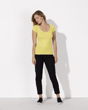 STELLA SMILES Dámské tričko s velkým výstřihem do V  ze 100% biobavlny - žlutá iris