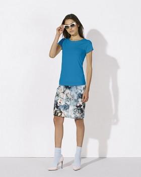 STELLA WANTS Dámské tričko s kulatým výstřihem ze 100% biobavlny - modrá azur