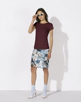 5690f8e628 STELLA WANTS Dámské tričko s kulatým výstřihem ze 100% biobavlny - fialová  burgundy