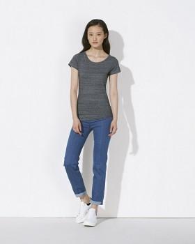 STELLA WANTS Dámské tričko s kulatým výstřihem ze 100% biobavlny - šedá  steel slub heather