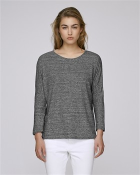 STELLA TURNS Dámské tričko s dlouhými rukávy ze 100% biobavlny - šedá slub heather steel