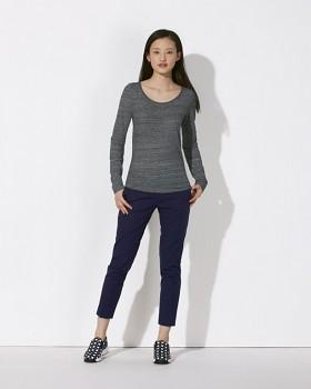 STELLA JOKES Dámské tričko s dlouhými rukávy ze 100% biobavlny - tmavě šedá steel slub heather