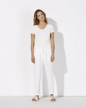 STELLA CHOOSES Dámské tričko s krátkými rukávy a velkým výstřihem do V ze 100% biobavlny - bílá
