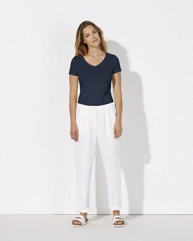 STELLA CHOOSES Dámské tričko s krátkými rukávy a velkým výstřihem do V ze 100% biobavlny - tmavě modrá navy
