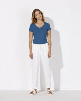 STELLA CHOOSES Dámské tričko s krátkými rukávy a velkým výstřihem do V ze 100% biobavlny - modrá royal
