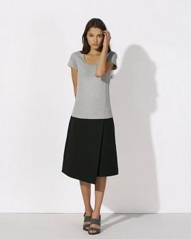 STELLA CHOOSES Dámské tričko s krátkými rukávy a velkým výstřihem do V ze 100% biobavlny - šedá heather