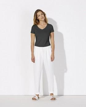 STELLA CHOOSES Dámské tričko s krátkými rukávy a velkým výstřihem do V ze 100% biobavlny - tmavě šedá antracit