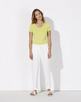 STELLA CHOOSES Dámské tričko s krátkými rukávy a velkým výstřihem do V ze 100% biobavlny - žlutá sunny lime