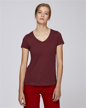 STELLA CHOOSES Dámské tričko s krátkými rukávy a velkým výstřihem do V ze 100% biobavlny - burgundy
