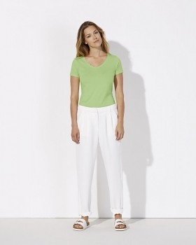 STELLA CHOOSES Dámské tričko s krátkými rukávy a velkým výstřihem do V ze 100% biobavlny - zelená paradise